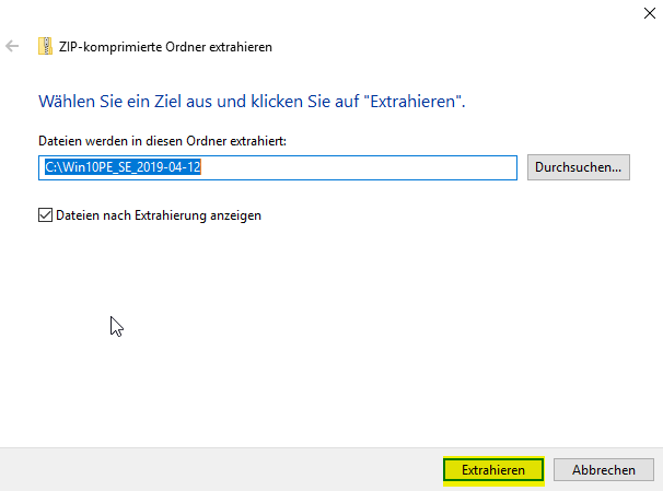 step2 WindowsPE Entpacken