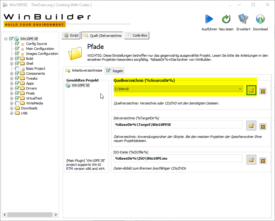 step5 WindowsPE Builder Quelldaten