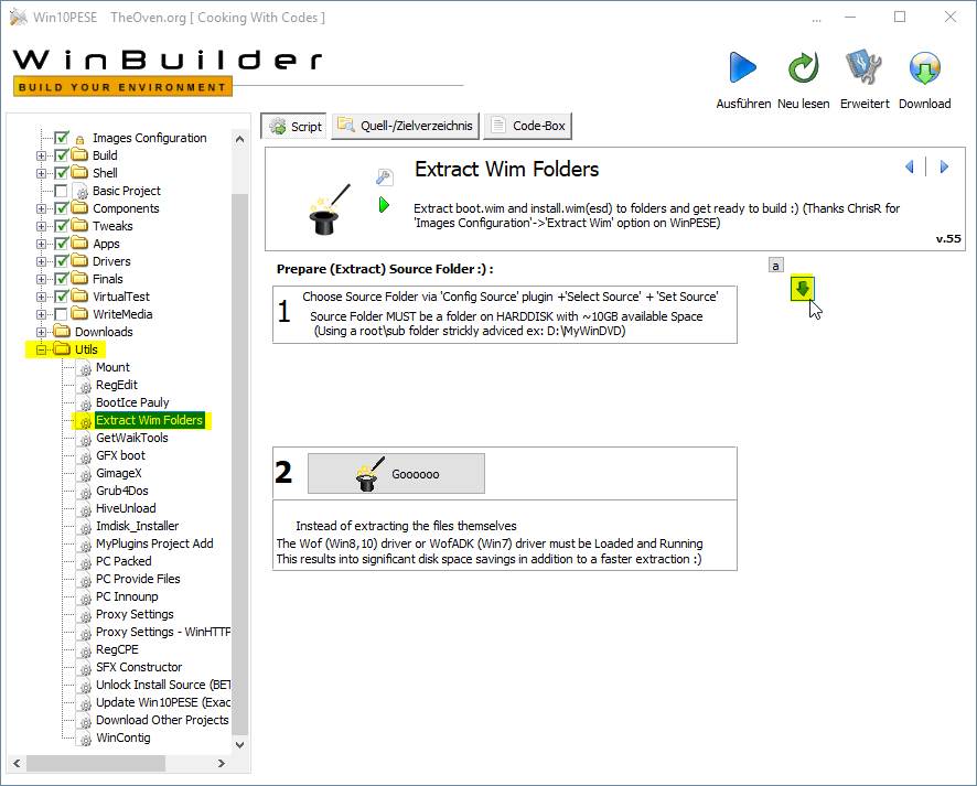 step7 WindowsPE Builder Extract Wim Folders